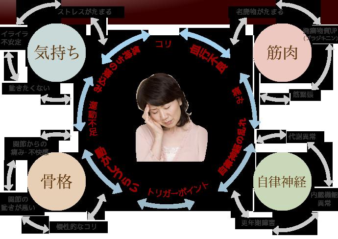 筋肉の緊張、神経の異常、骨格や関節の異常、そして精神的なつらさへ・・・痛みの悪循環